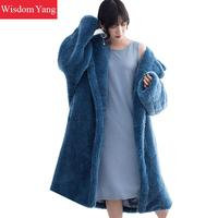Blue Pink W Fur Teddy Bear Sheep Shearing Wool Cashmere Coats Womens Trench Winter Warm Long Woolen Overcoat Coat Outerwear
