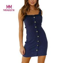 052b562bd6f MUQGEW Womens Party Club Strap Dress Sexy Slim Solid Slip Ruffle Gingham  Button Up Sleeveless Bodycon