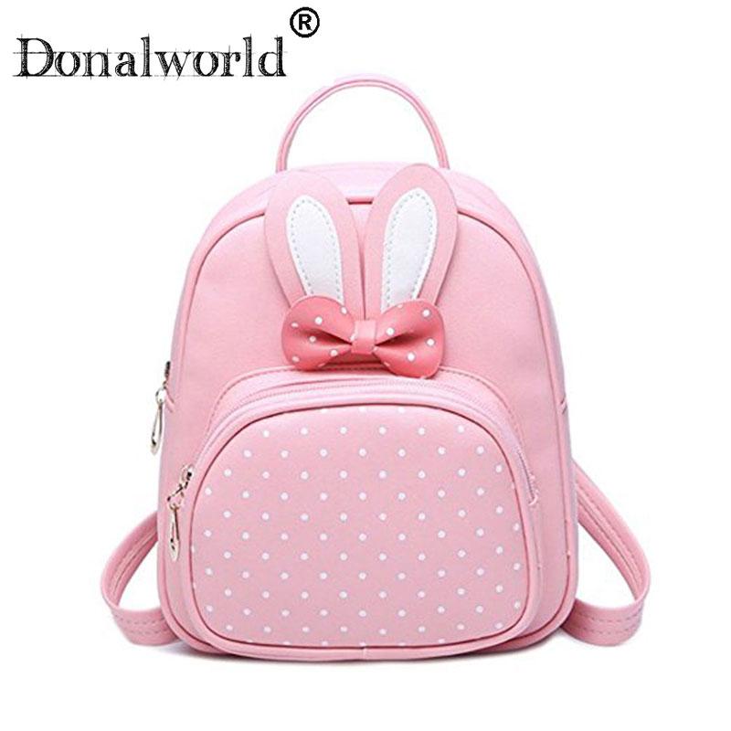 Donalworld 2018 fashion Cute Small Leather Backpack For Teenage Girl Bunny Cartoon Backpack Women Polka Dot Backpack Mochila