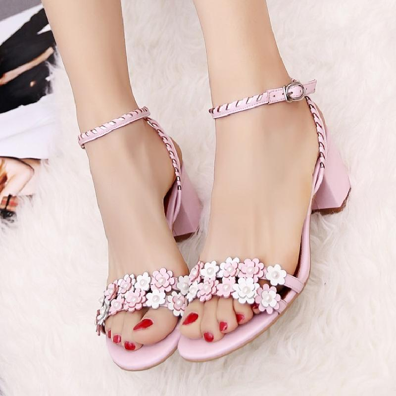 Sweet Lady Med Heels Sandals Beautiful Flower Buckle Strap Shoes Performance Show Shoes Woman New Summer Gladiator Sandals J166
