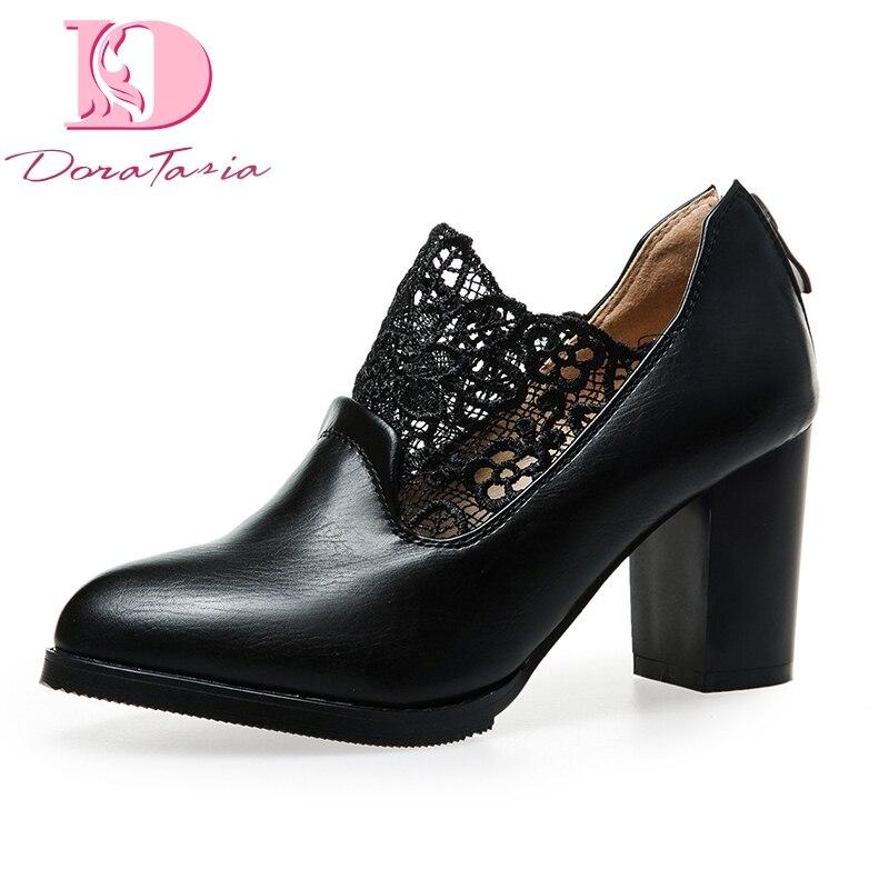 Doratasia Women Shoes Lace Pointed-Toe High-Heels Elegant Plus-Size Wholesale New 34-43