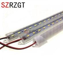 Tira de luz de led, 5 peças * 50cm dc12v smd 5730 led duro rígido tira de luz concha de alumínio + capa do pc luz de barra led 5730,