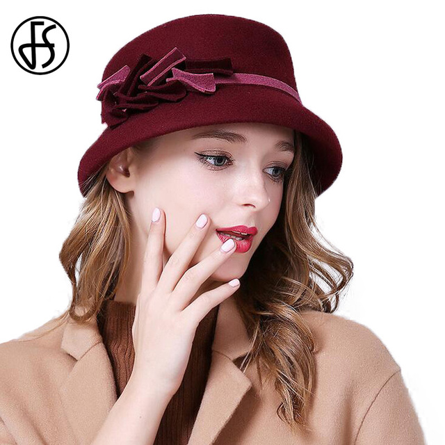 FS elegante sombreros para mujer Lana de ala ancha Floppy Fedora Vintage  negro azufaifo rojo azul 242f1b68119