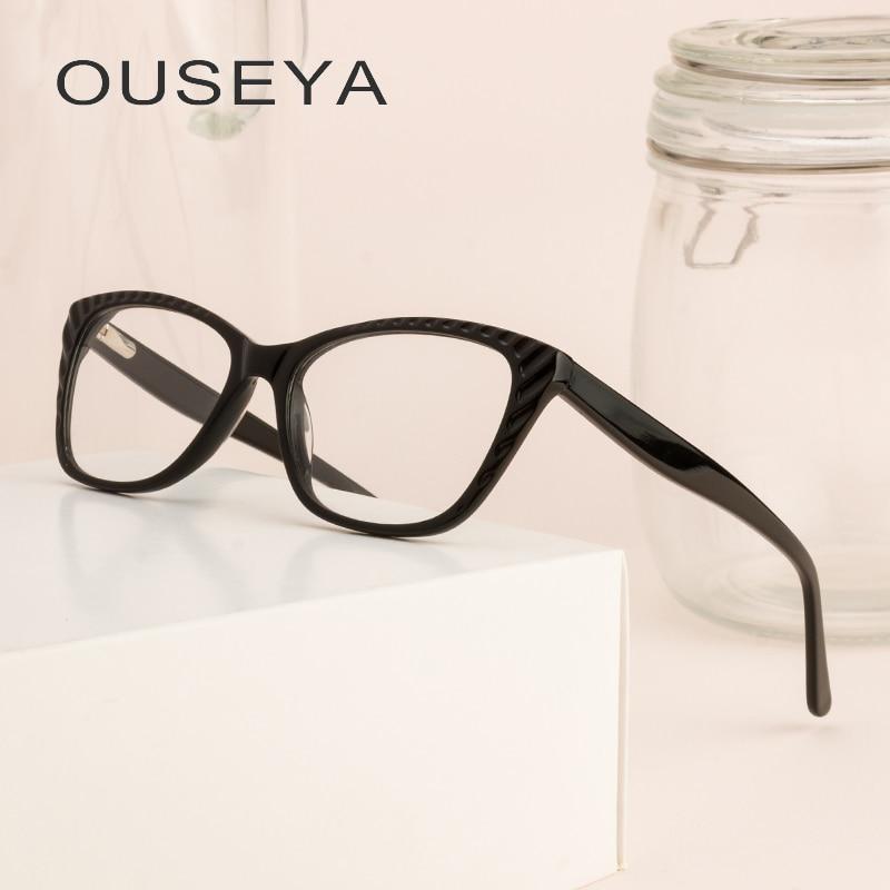 Acetat Brille Rahmen Für Frauen Trendy Retro Männlich Optische Bild Grade Klar Oculos Brillen Frauen Rahmen # L5038