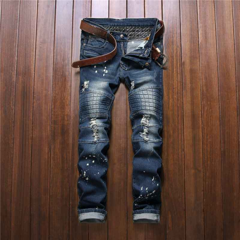#3261 Men ripped jeans 2016 Slim Denim biker jeans Fashion slim fit Motorcycle pants Patches Punk Skinny Moto jeans Motorcycle