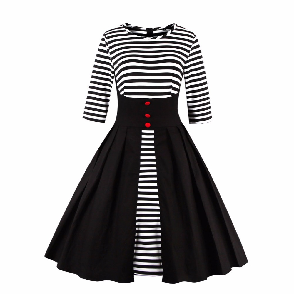 Sensfun Summer Dress Women Cotton Swing Striped Vintage Dress Elegant Vestidos Audrey Hepburn Robe Retro Rockabiliy Party Dress