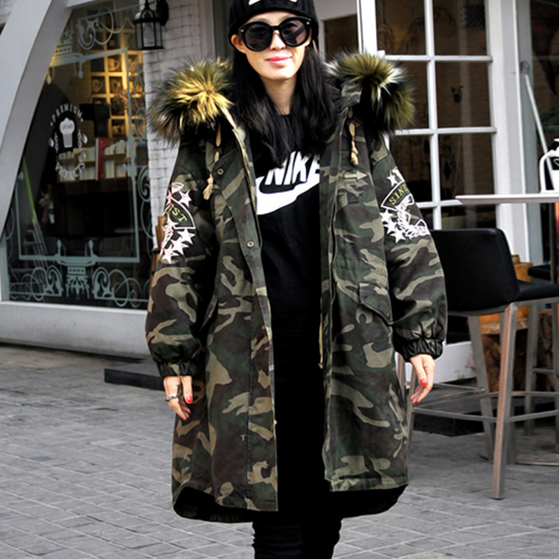 APOENGE Female Hooded Parkas Camouflage Winter Warm Overcoats Women  Padded Cotton Fur Collar Jackets 2017 New Coats LZ539 aishgwbsj winter women jacket 2017 new hooded female cotton coats padded fur collar parkas plus size overcoats pl155