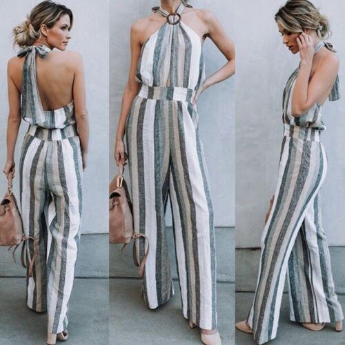 NEW fashion high street style Women spaghetti strap striped Bodycon backless   Jumpsuit   wide leg Trousers Clubwear