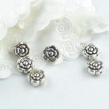 20 pcs Wholesale Metal flower Beads Tibetan Silver big hole Beads for Bracelet Jewelry Making 18110