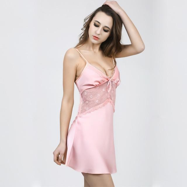 New Arrival Women Nightgown Lace Element Mini Sleepshirt Nightdress Sheer Chemises Slip Lace Neck Sleepwear Sexy