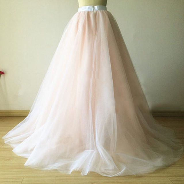 Vintage Blush Pink Tulle Skirt Floor Length Long Women Skirt Wedding  Bridesmaid Maxi Skirts Custom Made Saia Jupe faldas a233193e7419