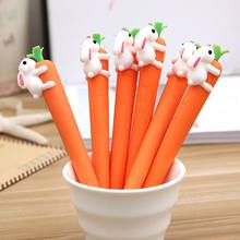 1pcs Kawaii Cartoon White Rabbit Love Carrot Students Black Neutral Pen Office Signature Gel Pen Promotional School Suppliers(China)