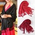 2016 Nova 6 Cores Moda Elgant Mulheres Outono Inverno Quente Xaile do Envoltório do Lenço Macio Cashmere de Seda Grande Bonito Do Natal Quente