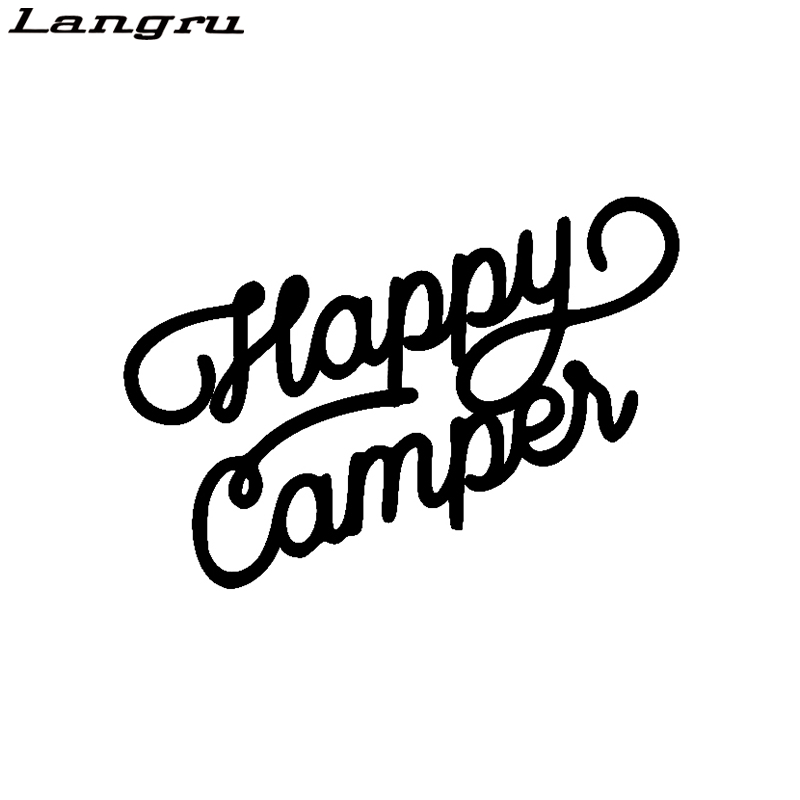 Langru Funny For Happy Camper Vinyl Letters Car Sticker Decal Waterproof Decal Car Accessories Jdm(China)