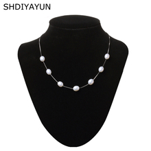 SHDIYAYUN Pearl Necklace Pearl Jewelry 925 Sterling Silver Jewelry For Women Natural Pearl 8-9mm Water Drop Babysbreath Gift