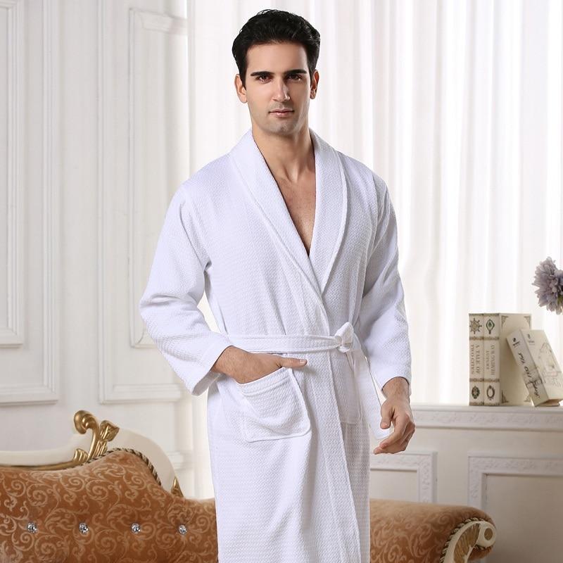 Waffle Bathrobe Men Cool Long Sleepwear Bath Dress Robe Gown White Trip Hotel Soft Breathable Anti-wrinkle Summer Vocation