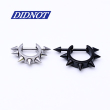 Free Shipping 1PCS Fashion Black Silver Piercing Lobe Earring Ear Nail Tragus Ring Nipple Rings Body Piercing Jewelry