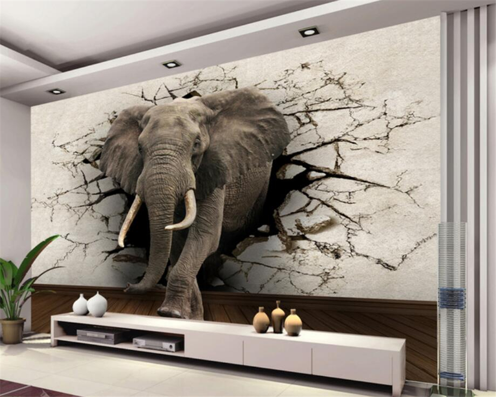 Beibehang 3d wallpaper elephant mural tv wall background for Wallpapering a wall