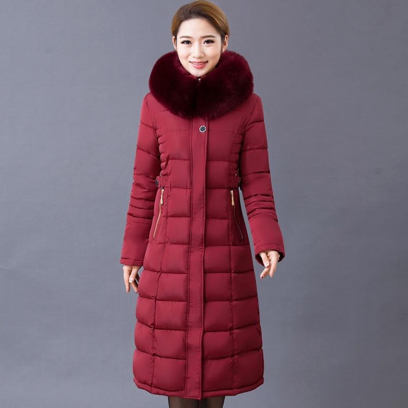 Women 'S Cotton Jacket Long Paragraph Cotton Coat Windbreaker Large Size Thick Cotton Jacket henry cotton s бермуды