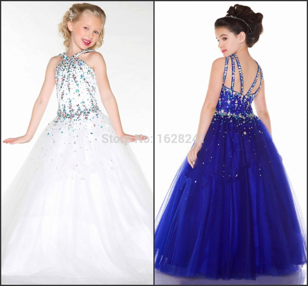 girl 39 s pageant dresses cute princess crystal communion dress white royal blue ball gown flower. Black Bedroom Furniture Sets. Home Design Ideas