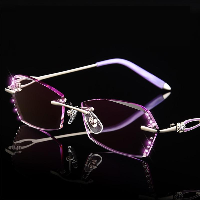 Frauen Klar Strass Diamant Presbyopie Luxus Brille Leser Brillen Hohe Randlose Lesebrille Rosa 0fE6xqBwS