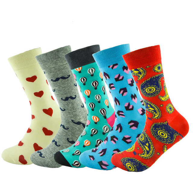 New Style 5 Pairs Lot Mens Socks Combed Cotton Sock Colorful Novelty Wedding