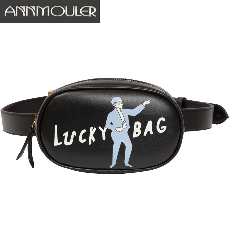 Annmouler Brand Women Waist Packs Pu Leather Quality Fanny Pack Cartoon Waist Bag Zipper Phone Pouch 3 Colors Waist Belt Bag