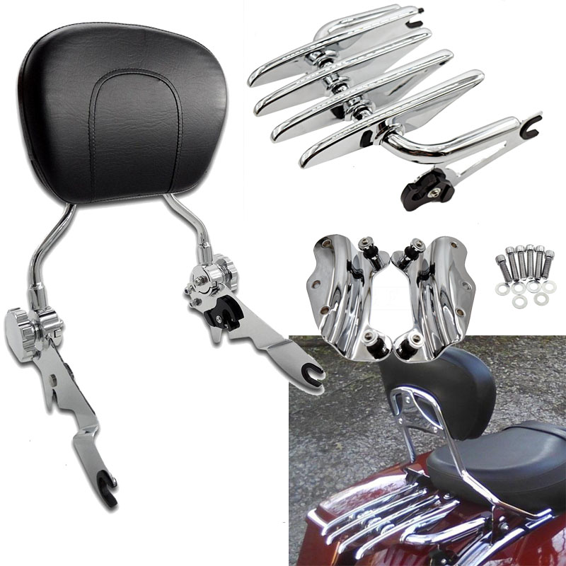 Bags & Luggage Motorcycle 4 Point Docking Backrest Sissy Bar For Harley Touring Road King Electra Street Glide Flhr Flhx Flht Fltr 14-18 Carrier Systems