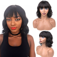 Bob Short Human Hair Wig Black hair with Bangs Brazilian Body Wavy Hair 150% Density Remy Wigs 10 Inches Free Shipping 0606