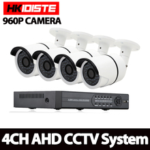 HKISDISTE AHD 4CH CCTV System 1080P HDMI DVR Kit 1.3MP Outdoor Security Waterproof Night Vision 4 Cameras Surveillance Kits