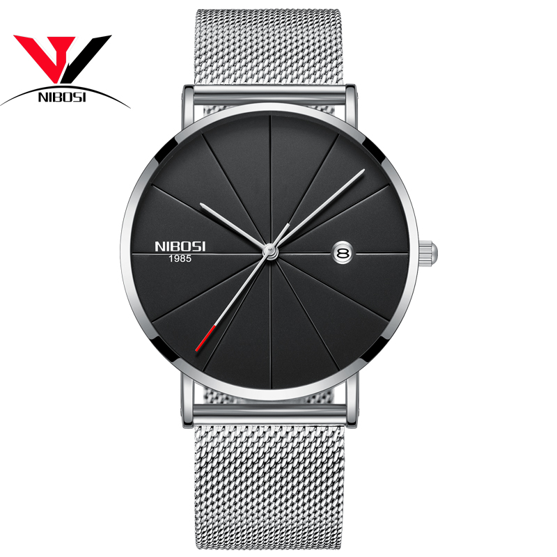 NIBOSI New Men's Watch Ultra-thin Fashion Watches Simple Business Men Quartz Watches Relogio Masculine Male Clock Mesh Band