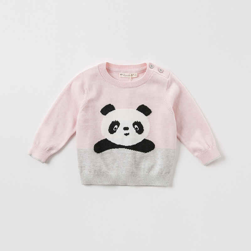 DB8544 dave bella unisex baby trui kinderen trui gebreide trui baby peuter jongens meisjes panda print mooie kleding