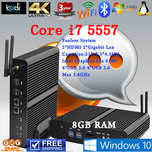 Безвентиляторный Мини-ПК Linux Windows 10 Intel Core i7 Бродуэлла 5557U макс 3.4 ГГц Графики Iris 6100 HTPC 8 ГБ RAM наилучшую конфигурацию usb