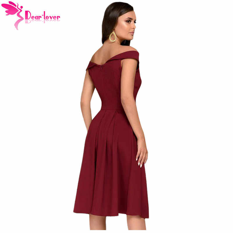 8eaa5c66bd Dear Lover slash neck party dress Summer Women Burgundy Black Sleeveless  Open Shoulder Midi Dress Vestidos Short Sleeve LC610411