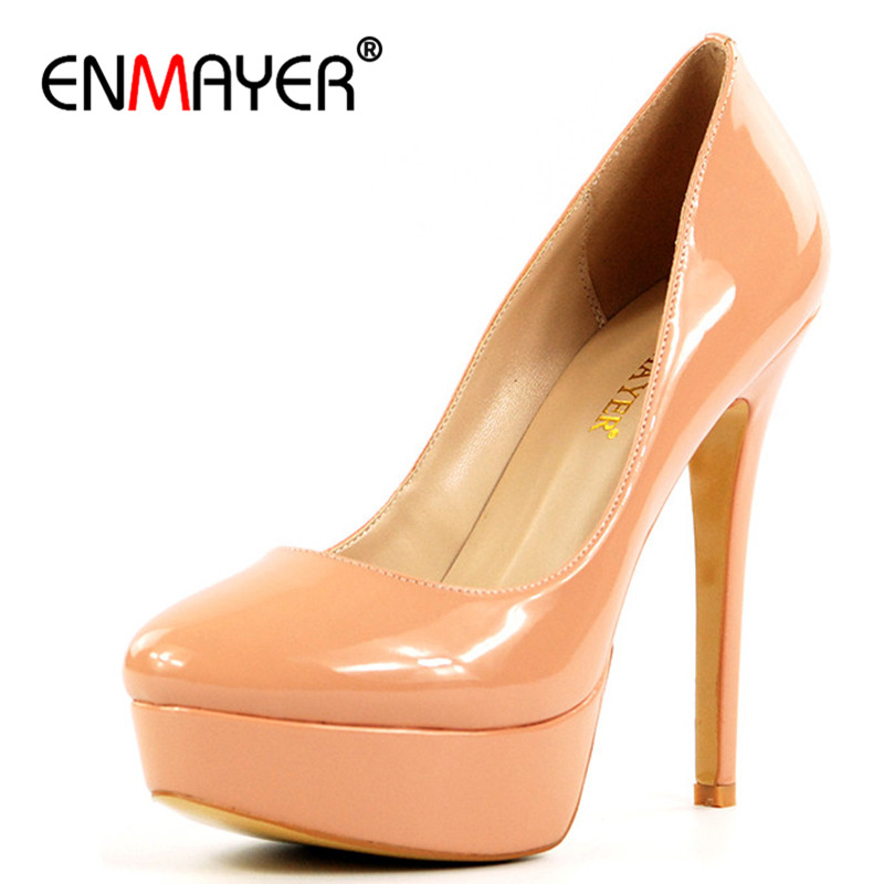 ENMAYER Extreme High Heels Pumps for Women Round Toe Slip-On Platform Stiletto Fashion Party Shoes Nightclub Plus Size 35-46 nayiduyun women genuine leather wedge high heel pumps platform creepers round toe slip on casual shoes boots wedge sneakers