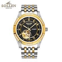 Голдсмит черное лицо подлинной водонепроницаемый 30 М мода бизнес часы мужские часы автоматические механические часы стальные часы