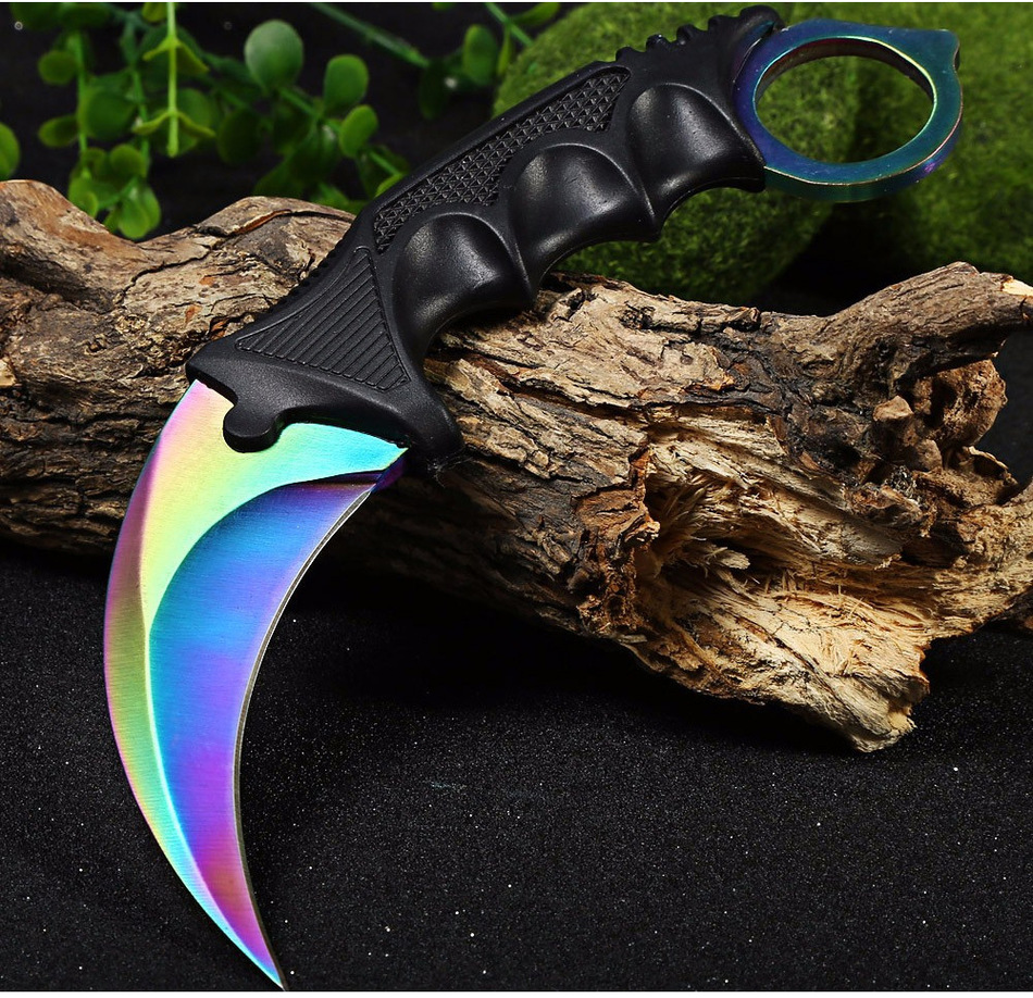 CSGO Knife Karambit Training Knife Fixed Blade Multi Knife with Sheath Hunting Survival Pocket Neck Knives