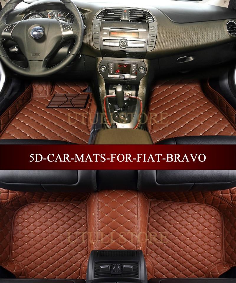 Car floor mats for FIAT Bravo 2007-2017 3D custom fit car carpets foot mats liners auto floor mats for honda cr v crv 2007 2011 foot carpets step mat high quality brand new embroidery leather mats