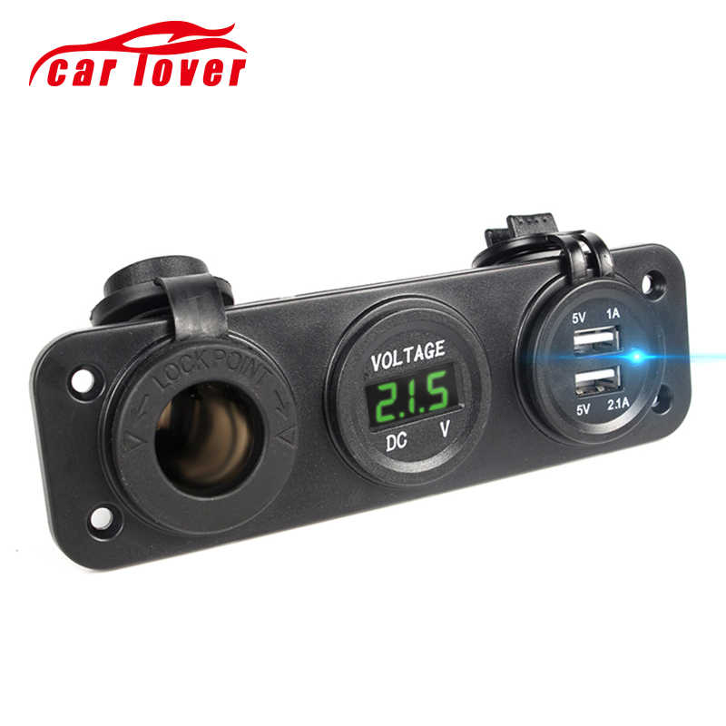 NEW Car Charger Motorcycle Plug Dual USB Adapter + 12V / 24V Cigarette Lighter Socket Blue LED + Digital Voltmeter Mobile Phone