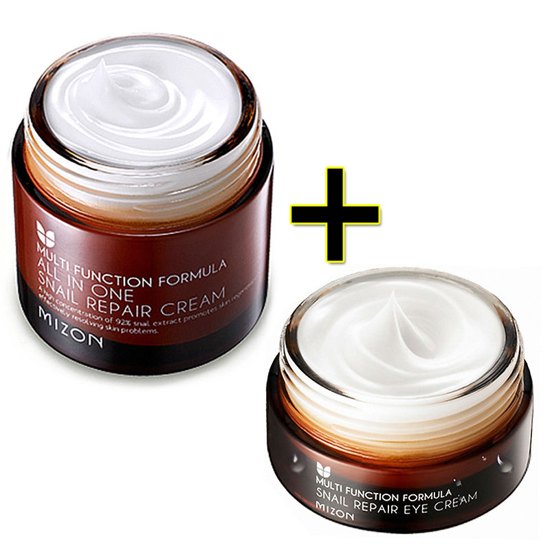 MIZON All In One Snail Repair Cream 50m + Snail Repair Eye Cream 25ml Face Skin Care Set Korean Cosmetics Moisturizing whitening new package taiwan mei yan san bao 3 2 whitening cream for face skin care second generation