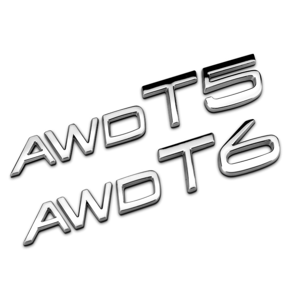 3D Metal T5 T6 AWD Logo Car Sticker for <font><b>Volvo</b></font> XC60 XC90 S60 S80 S60L <font><b>V40</b></font> Auto Side Fender Rear Trunk Emblems Badge Decor image