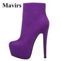 Mavirs 2017 Fashion 5 CM Platform Reviets High Heels Women Ankle Boots Stiletto Shoes 16 CM