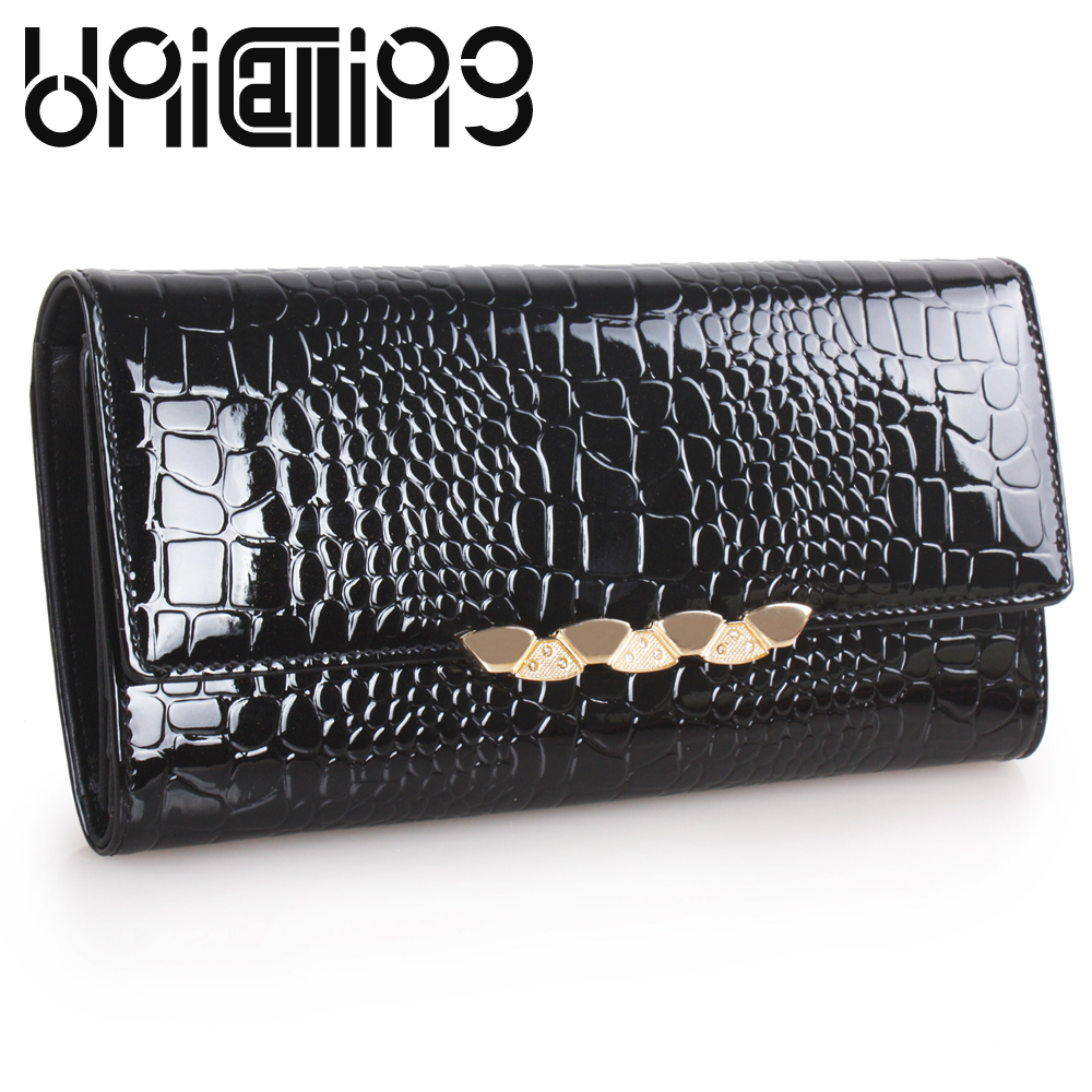 все цены на  UniCalling Fashion brand Crocodile women wallets All-match Top grade Split Leather female purse hasp mini long women wallet