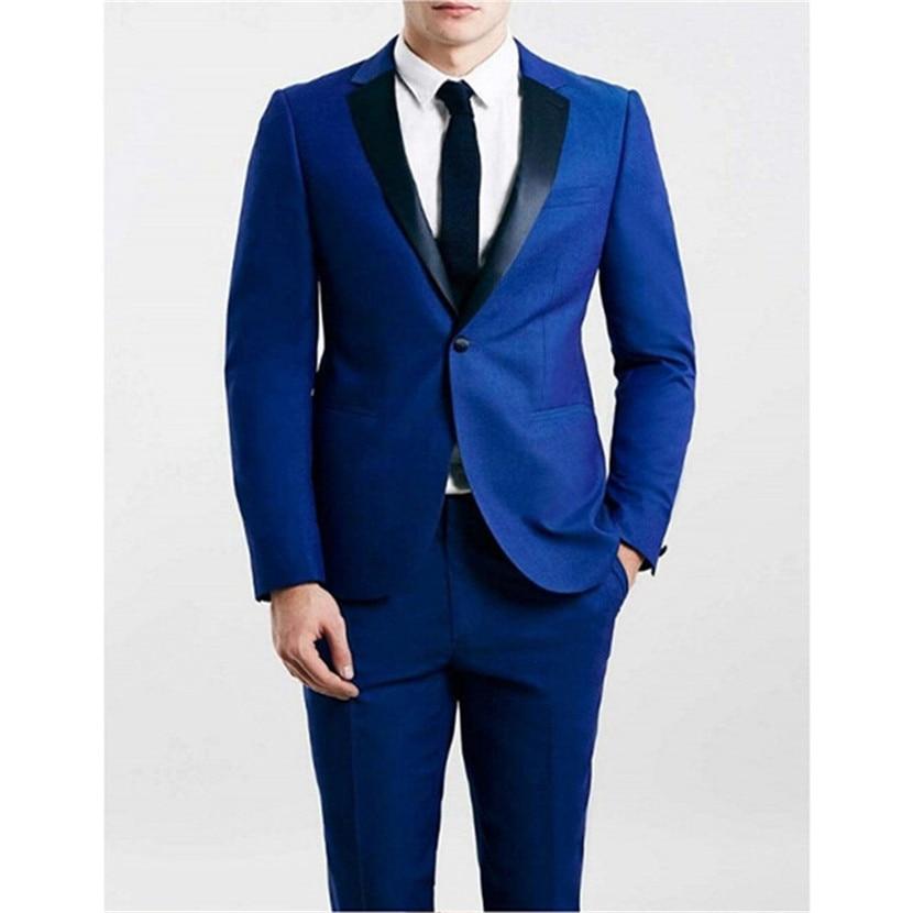 Hot Real New Smoking Custom Made Groomsmen Notch Lapel Groom Tuxedos Royal Mens Suits Wedding Best Man (jacket+pants)