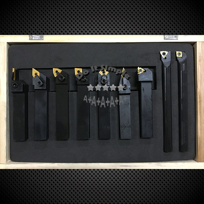 9pcs/set 20mm Hard Alloy Blade With Coating Turning Tool, CNC Lathe Tool Kits Cutter , Durable Cutting Tools