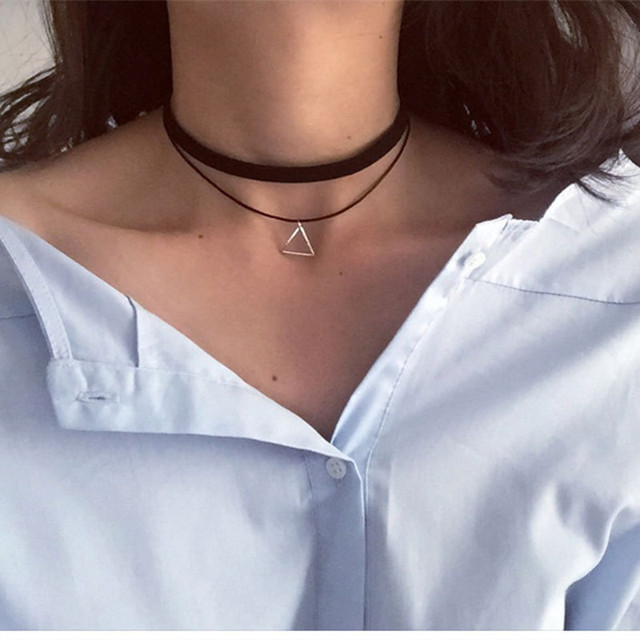 N757 Multilayer Chokers Necklaces For Women Triangle Geometric Pendant Necklace Collares Fashion Jewelry Bijoux Colar 2018