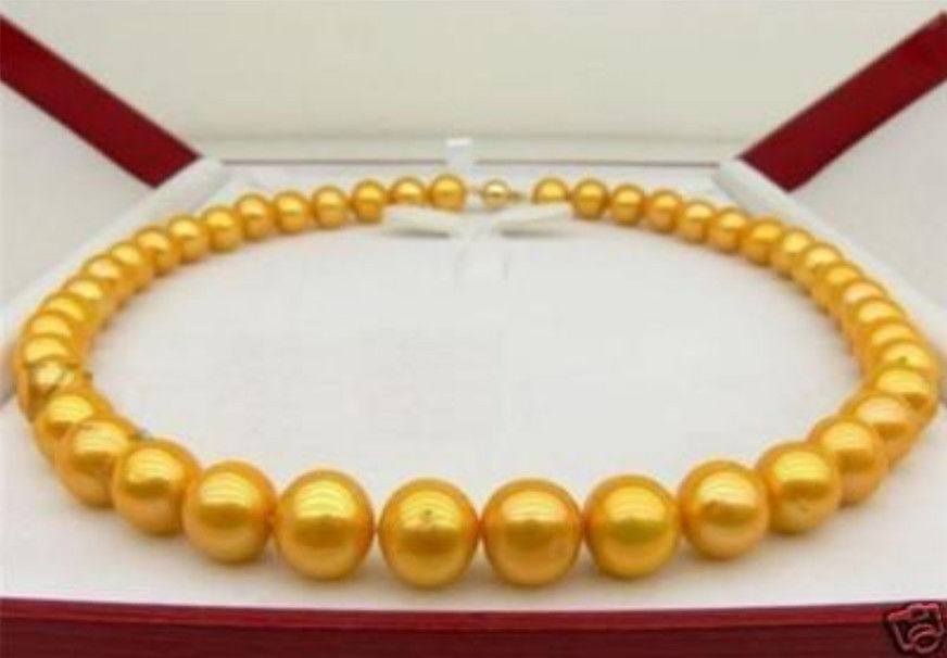 AA 9-10MM 14KGP SOUTH SEA GOLDEN PEARL NECKLACE 18 xiuli 001832 natural 9 10mm golden round pearl necklace 14kgp