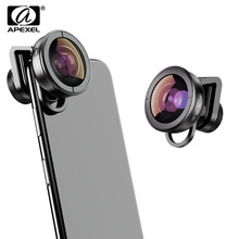 лучшая цена Apexel HD 170 Super Wide Angle Camcorder Lens for Dual Lens Single Lens iPhone,Pixel,Samsung Galaxy All Smartphones For xiaomi