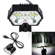 6000LM 2 X CREE XM-L T6 LED USB Lámpara impermeable bicicleta linterna de la bicicleta de bicicleta luces de bicicleta luz de la lámpara al aire libre, bicicleta, camoing(China)