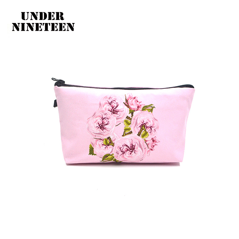 Under Nineteen 2017 New Women Flower Make Up Bags Large Capacity Cosmetic Bags Neceser Travel Toiletry Bag Organizer Pouch Gifts